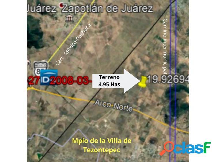 VENTA DE TERRENO 4.95 HAS MPIO VILLAS DE TEZONTEPEC