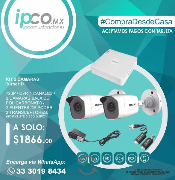 KIT 2 CÁMARAS TURBO HD 720P / DVR 4 CANALES