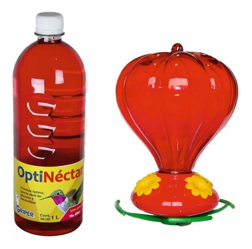 Kit De Bebedero Para Colibrí Grande Y Néctar Líquido 1l