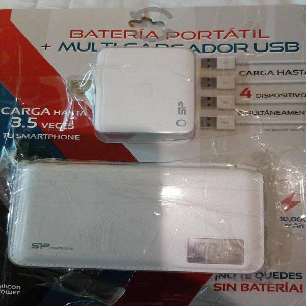 batería portátil más multicargador usb