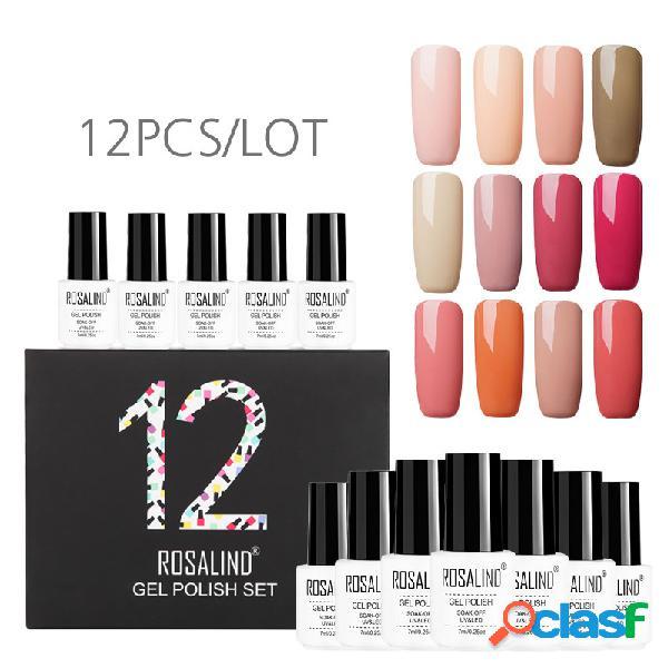 12Pcs / Kit Color sólido Uña Polaco Gel Kit de manicura