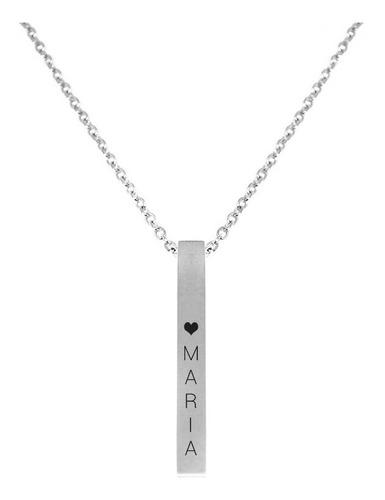 Collar De Barra Vertical Grabado Personalizado Acero Inox.
