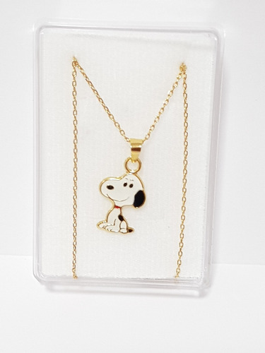 Collar De Snoopy De Oro Laminado Y Cadena 1 Envio Gratis