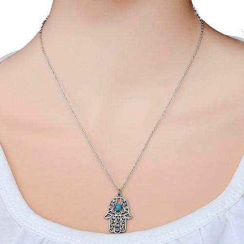 Collar Mano De Fatima Hamsa Ojo Turco Mandala Mal De Ojo C2