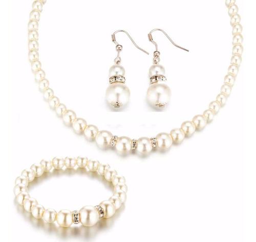 Conjunto Pulsera Aretes Y Collar Imitacion De Perla Blanco
