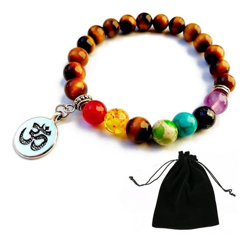 Pulsera Cuarzo Ojo De Tigre 7 Chakras Mandala Yoga Om