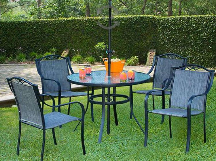 Comedor con 4 sillas para jardín o exteriores