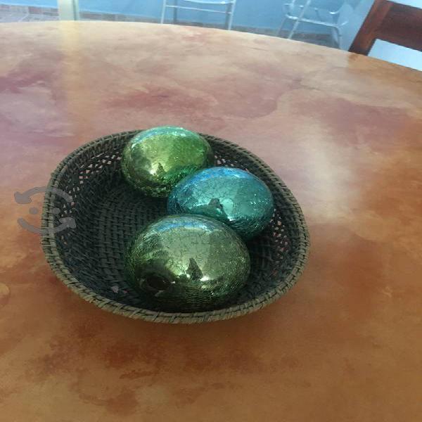 Juego de 3 esferas de vidrio craquelado