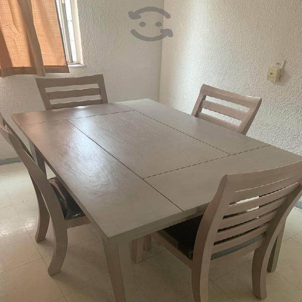 Remato Comedor de madera de pino 4 sillas