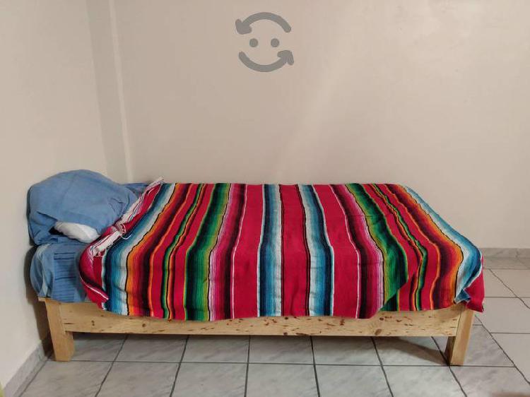 Vendo base de madera y colchón individual