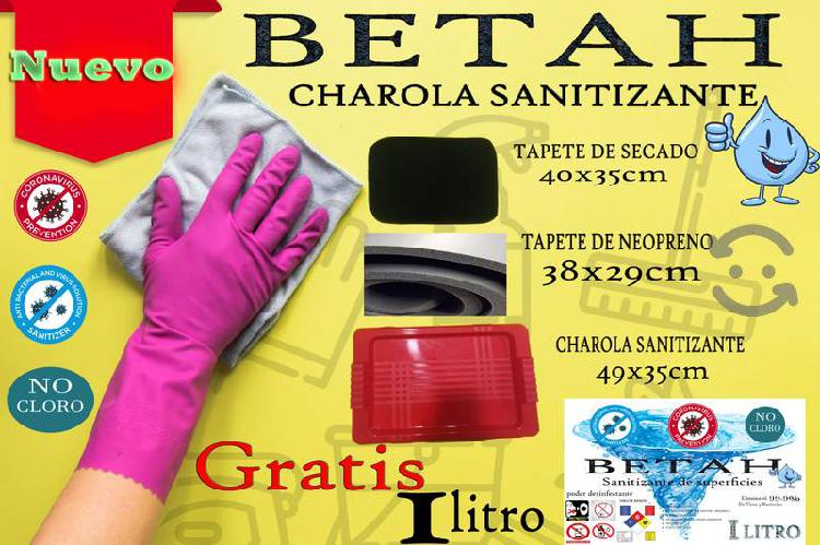 charola sanitizante 2 tapetes 1 litro $120