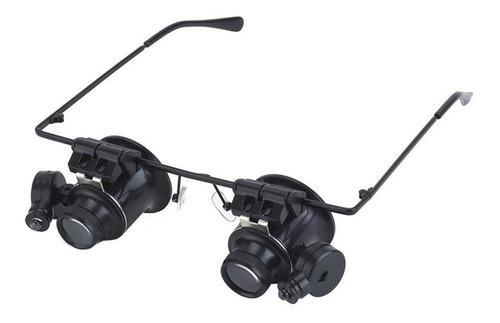 20x Gafas Binocular Lupa Reloj Reparación Dos Luces Led