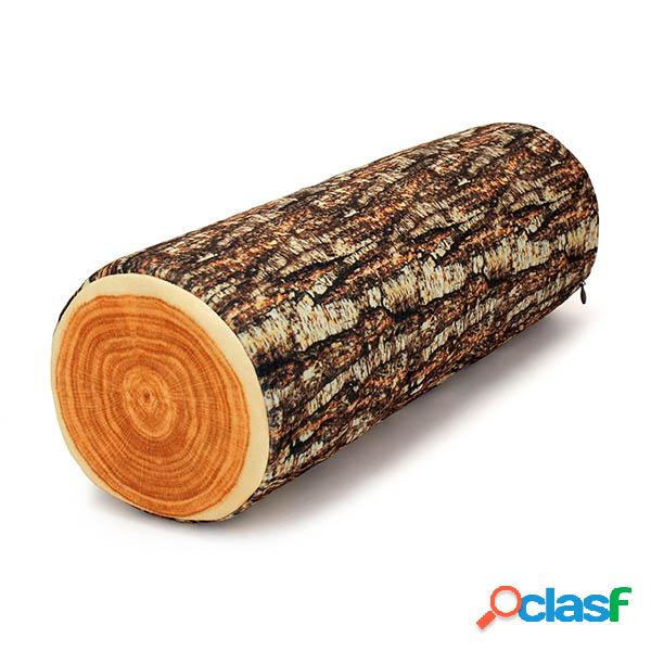3D realista Osier Stump Registro Madera forma almohada Throw