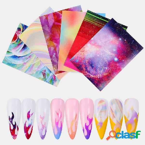 6 colores / kit Colorful Uña Adhesivo Láser Dazzle Flame