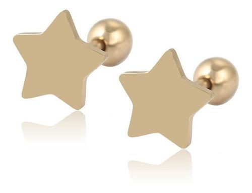 Aretes Broqueles Estrella Chicos Niña Oro 14k Lam Bolita