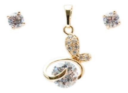 Aretes Y Dije Mariposa Zirconia Chapa Oro 18k+cadena