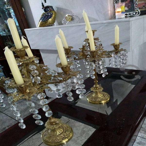 CANDELABROS DE BRONCE Y CRISTAL IMPECABLES