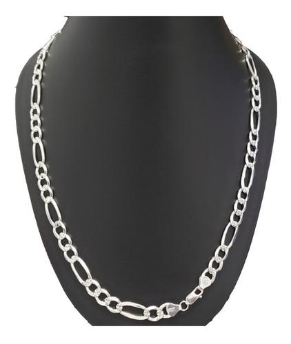 Cadena Figaro Diamantada Gruesa En 100% Plata Ley 925 M7