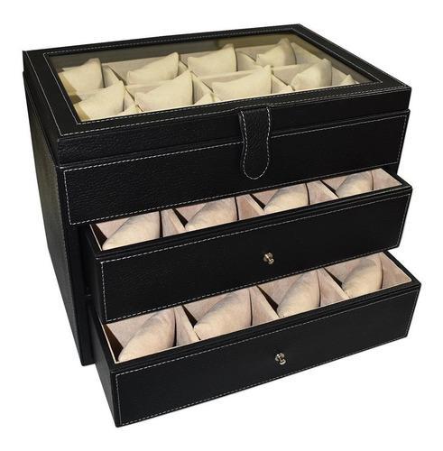 Caja Para Guardar 36 Relojes Hecha En Piel - Marca Perré