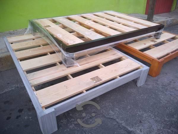 Camas de madera de madera gruesa todos los tamaños
