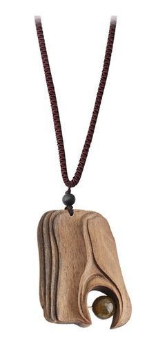 Collar Con Colgante De Piedra Natural De Sándalo Hecho A Ma