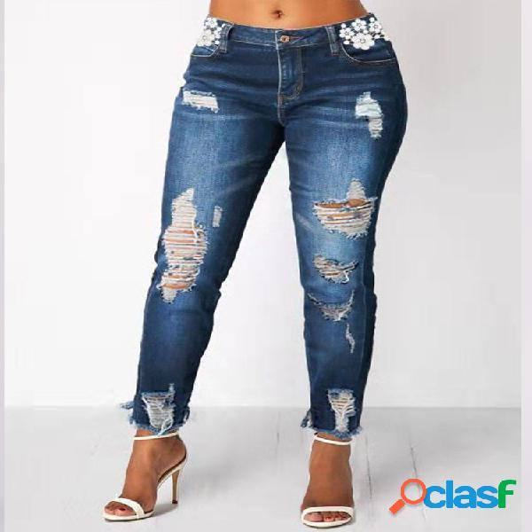 Cremallera rasgada casual Plus Tamaño Pantalones para Mujer