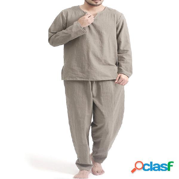 Hombres Plus Tamaño Algodón Transpirable Dos piezas Yoga