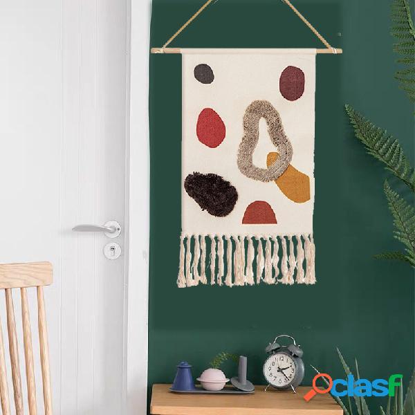 Homestay tejido a mano borla tapiz decoración nórdico