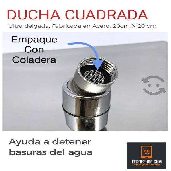 REGADERA CUADRADA 20 X 20 DE ACERO