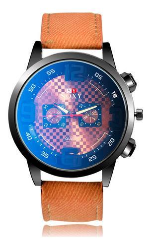 Reloj De Cuarzo De Cristal Azul Hombres Dial Grande Relojes