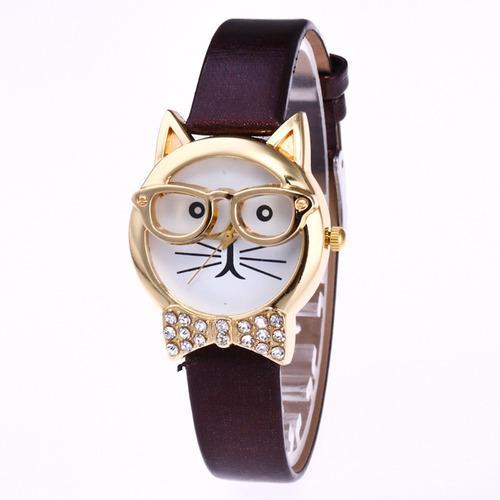 Reloj De Pulsera Analógico De Cuarzo Con Diseño De Gato