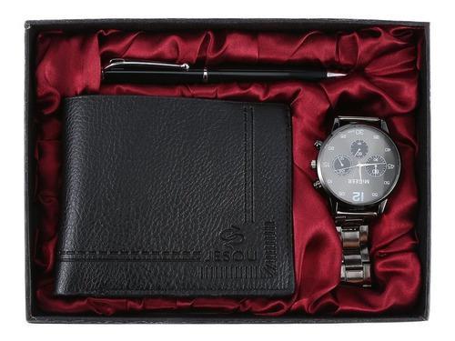 Reloj Regalo Set A04169 Reloj Y Cartera Bolígrafo Set Negro