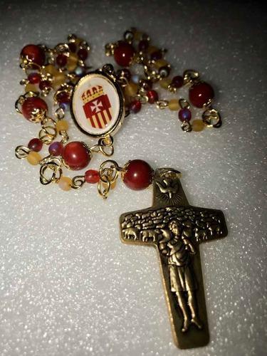 Rosario Virgen De Merced Chapa Oro 14 K Coral Y Piedra Luna