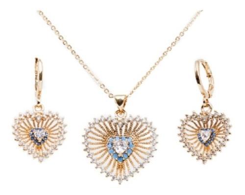 Set Aretes Y Dije Corazón Centro Azul Y Cristales Chapa 18k