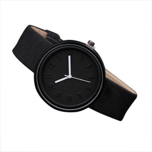 Unisex Simple Moda Número Relojes Cuarzo Lona Cinturón Wri