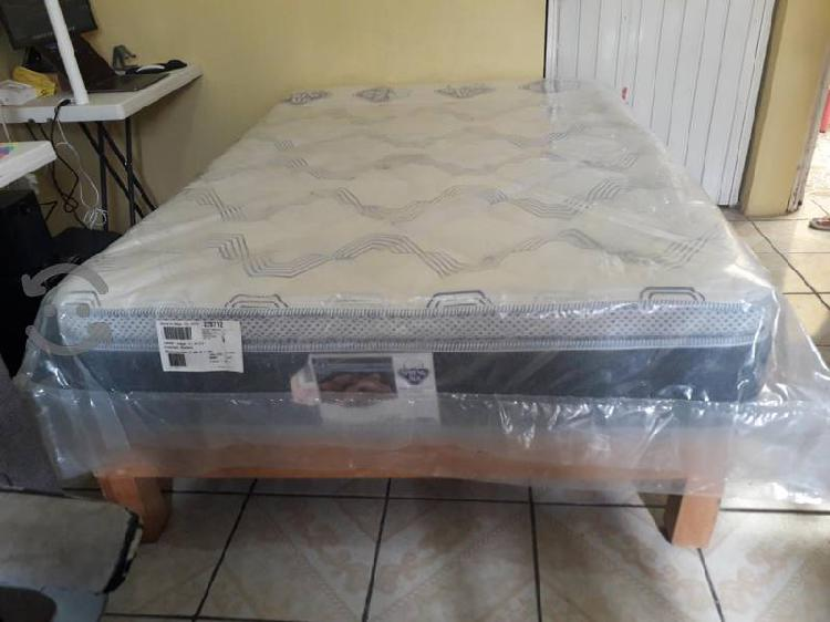 cama matrimonial spring air base madera poco uso