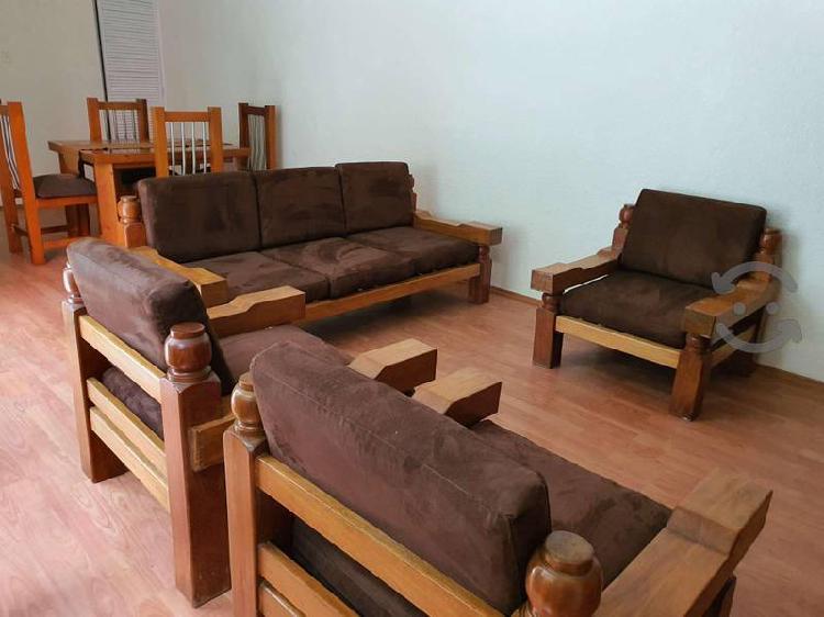 excelente sala tipo colonial en madera de cedro
