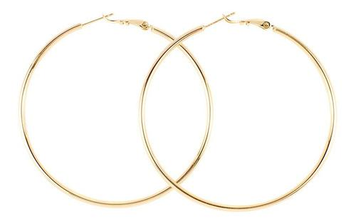 Aretes Arracadas Grandes Tubulares Lisas De Oro Laminado 18k