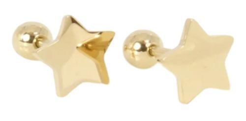 Aretes Broquel Estrella Pequeña Niña Espejo Oro Lam 14k