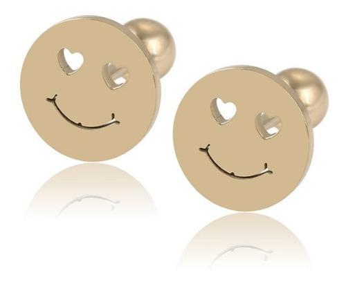 Aretes Broqueles Carita Feliz Niña Oro 14k Lam Bolita