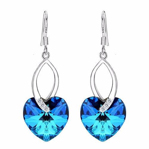Aretes Corazón Francés Plata Cristales Cristal Swarovski