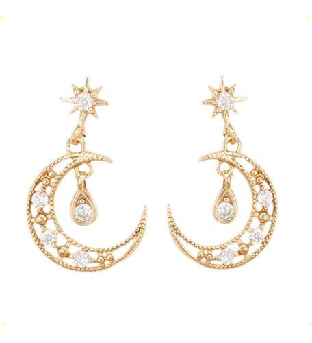 Aretes De Lunas Con Cristales Swarovski De Oro Laminado 18k