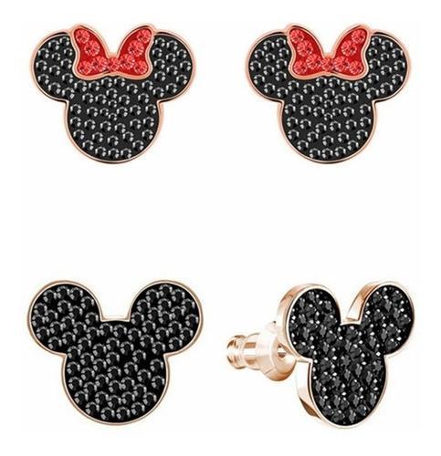 Aretes De Mickey Y Minnie Mouse Con Cristal Swarovski