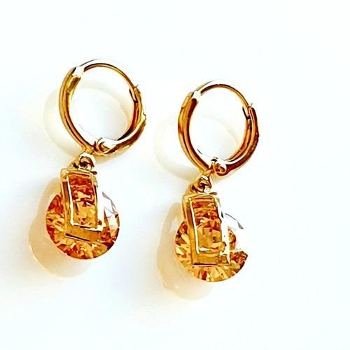 Aretes De Oro 18k Con Zirconias Diamante Envío Gratis