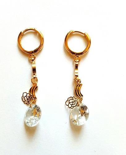 Aretes De Oro Con Zirconia Calidad Diamante Envio Gratis!!