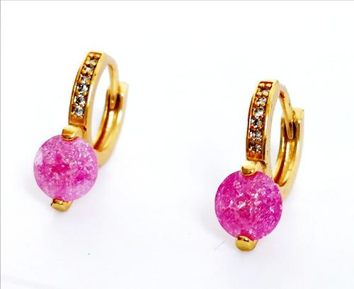 Aretes De Oro Y Swarovski Rosa Envio Gratis