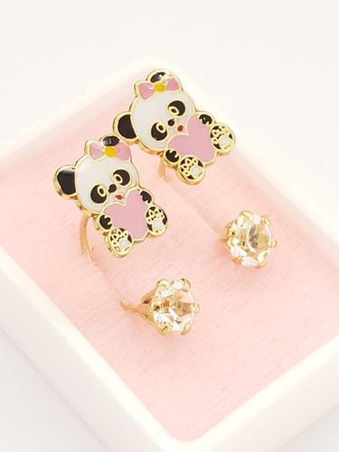 Aretes De Osita Panda Rosa Tipo Telefono De Oro Laminado O