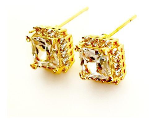 Aretes Oro Lam 18k Zirconia Calidad Diamante.