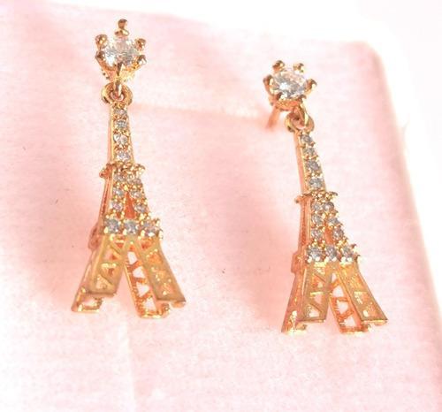 Aretes Oro Torre Eiffel Zirconias