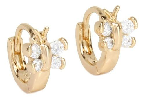Aretes Para Niña Maripositas Brillante Oro Laminado 18k